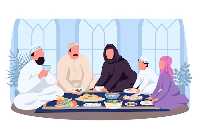 Muslim traditional dinner 2d web banner, poster. eat lunch on tablecloth. arabian family flat characters on cartoon background. cultural customs printable patch, colorful web element