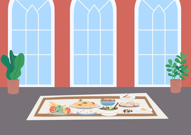 イスラム教徒の伝統的なディナーフラットカラーイラスト