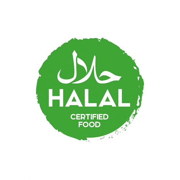 이슬람 전통 할랄 음식 아이콘 벡터입니다. 배지, 로고, 태그 및 라벨. 반에 적합
