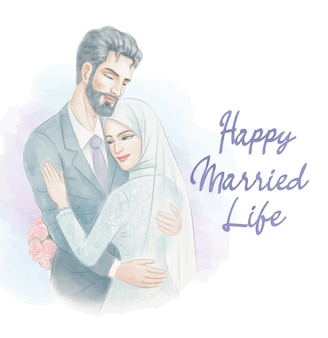Muslim wedding couple in watercolor illustration style