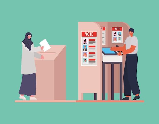 투표 상자와 부스 디자인, 선거의 날 테마 이슬람 여자와 남자.