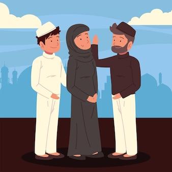 무슬림 여성과 남성 캐릭터