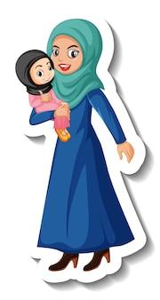 흰색 바탕에 이슬람 여자 만화 캐릭터 스티커 무료 벡터