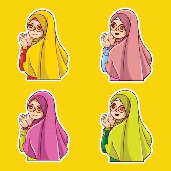 Muslim woman character cartoon premium vector