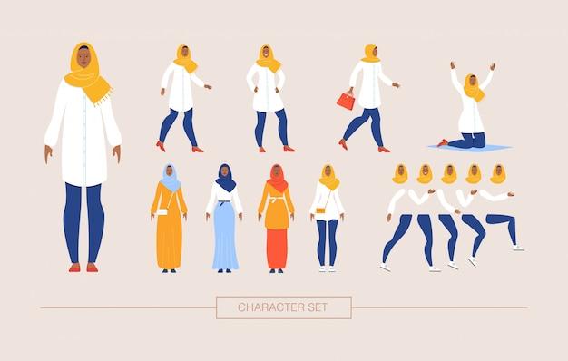 イスラム教徒の女性キャラクターコンストラクターフラットセット