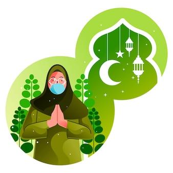 Muslim woman congratulates ramadan on pandemic