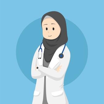 ヒジャーブを着ているイスラム教徒の女性医師