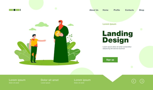 Muslim woman giving alms to messy boy landing page in flat style