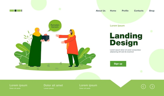 Muslim woman giving present to friend or mother landing page in flat style