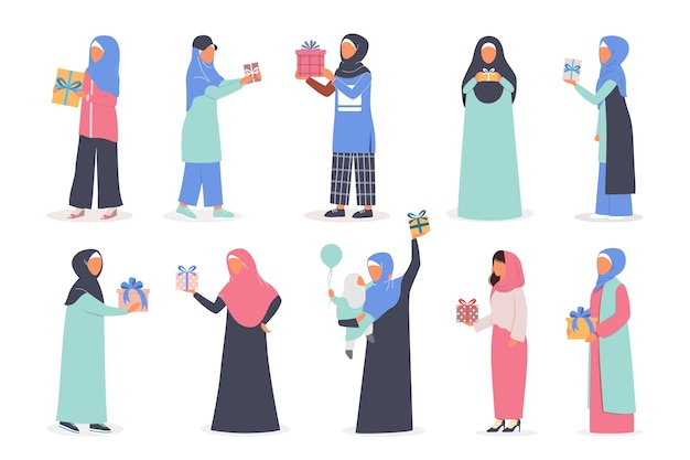 Muslim woman holding gift box set. arabian woman collection in different traditional clothes with present. woman wearing hijab. islam religion.