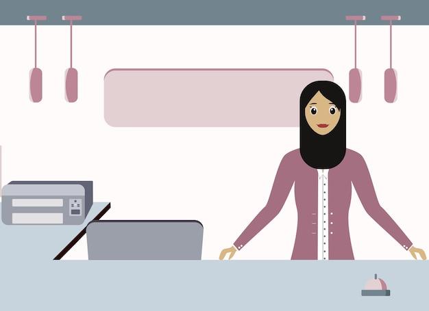 スカーフ専門家のイスラム教徒の女性がレセプションで働いています
