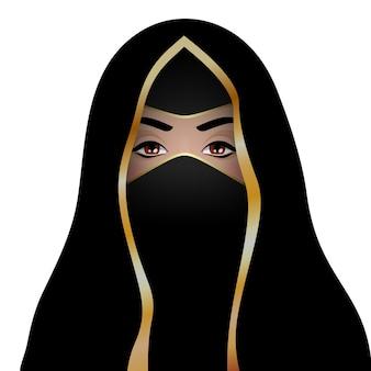 ヒジャーブのイスラム教徒の女性。美しいアラビアの女性。伝統的なドレスの女の子。