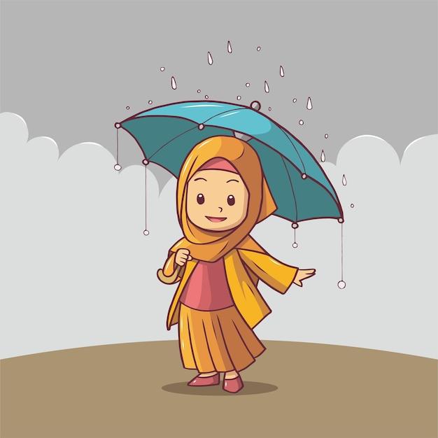 雨が降ると傘を持ってヒジャーブのイスラム教徒の女性