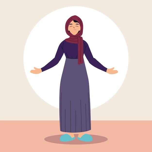 전통적인 복장에서 이슬람 여성입니다.