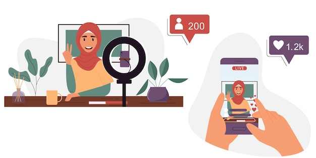 Muslim woman is broadcasting live on a smartphonepopular blogger concept