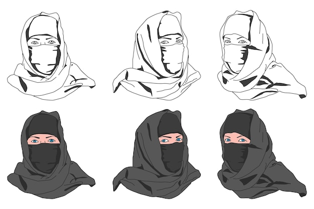 Muslim woman in niqab vector cartoon set isolated on a white background.