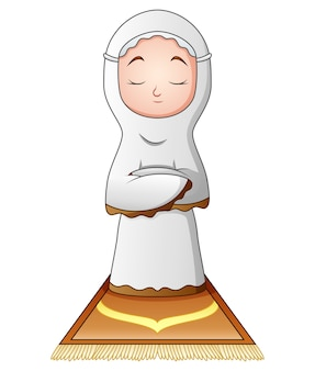 Muslim woman praying isolated on white background