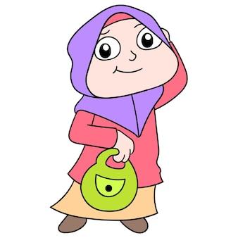쇼핑백을 들고 히잡을 쓴 이슬람 여성, 벡터 일러스트레이션. 낙서 아이콘 이미지 귀엽다.