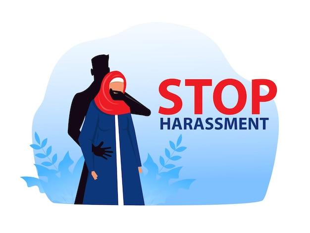 성희롱을 중지하고 학대하는 이슬람 여성은 성폭력 개념 벡터 삽화를 사용하지 않습니다.