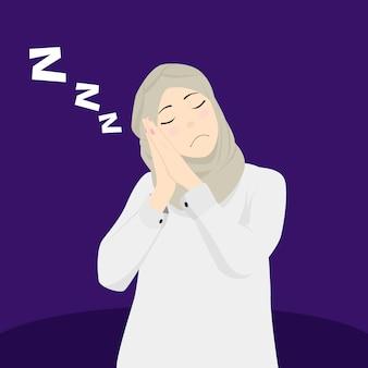 イスラム教徒の女性は眠く、ファッショナブルなスカーフを着用し、退屈な気分でいます