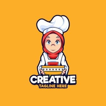 이슬람 여성 요리사 마스코트 로고 디자인 일러스트 레이션