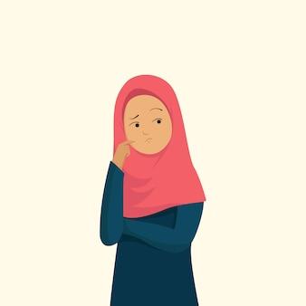 イスラム教徒の女性は不安と混乱の感情を表現する