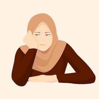Muslim women feel bored and sleepy, islamic women wear the hijab