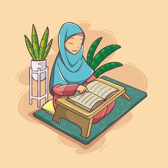 コーランから読んでいるイスラム教徒の女性