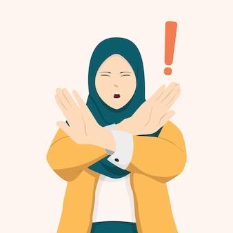 イスラム教徒の女性は腕を組んで何かをしっかりと拒否します