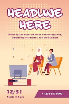 座ってテレビのチラシテンプレートを見ているイスラム教徒の女性
