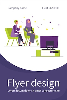 Muslim women sitting and watching tv. tea, hijab, home flat flyer template