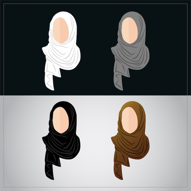 Muslim women wearing hijab set