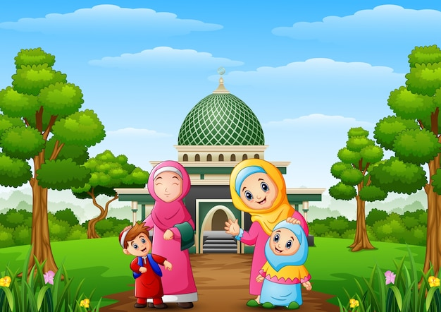 Muslim womens with son and her daughter with mosque in the park