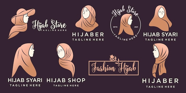 ゴールドカラーのロゴデザインテンプレートとヒジャーブやスカーフのファッション製品のイスラム教徒のロゴ