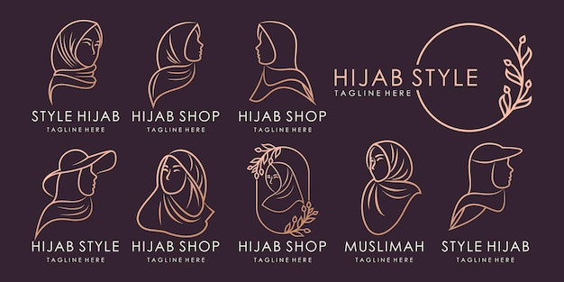 Muslimah logo for hijab or scarf fashion product with gold colour logo design template