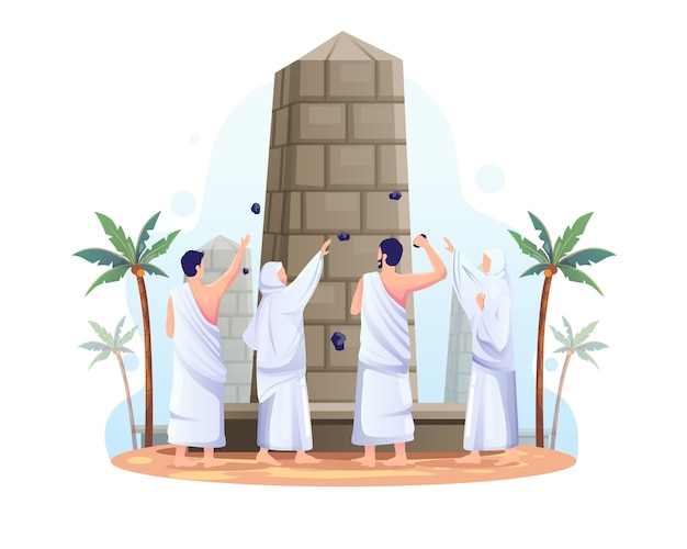 Muslims are throwing stones at the devil pillar in islamic hajj pilgrimage illustration
