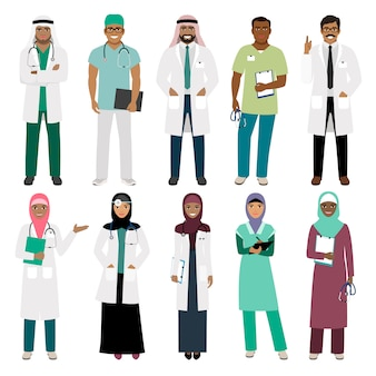 Muslims healthcare staff. standing arab muslim physician doctor and arabian nurse vector isolated
