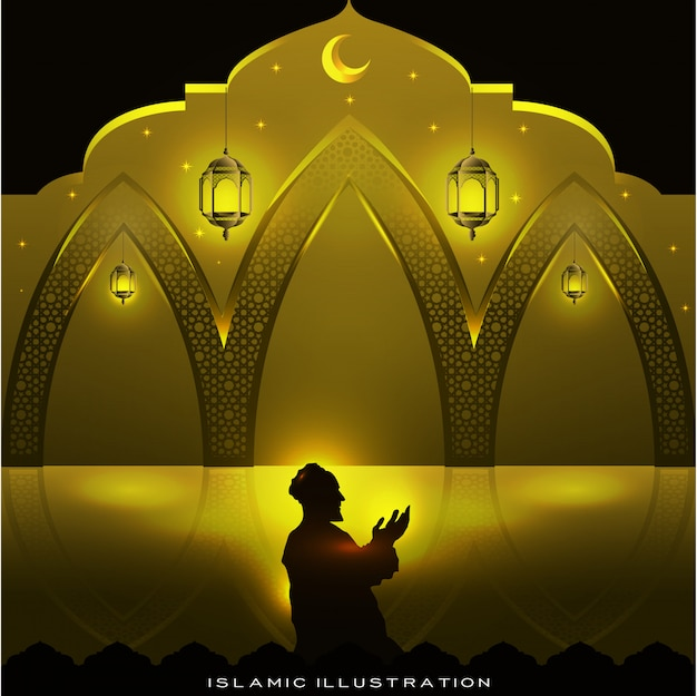 Muslims pray at night with sparkles and lanterns, moon and stars
