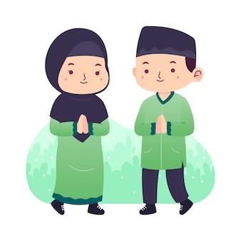 Мусульмане приветствуют рамадан милые иллюстрации