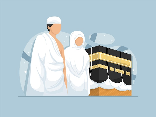 Muslims who are on the pilgrimage in mecca and the kaaba flat