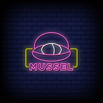 Mussel neon signs style text