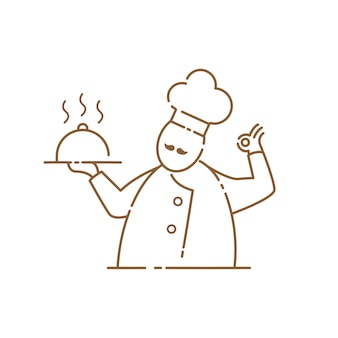 Mustache chef icon on the white background