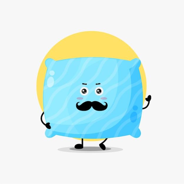 Mustache cute pillow character illustration