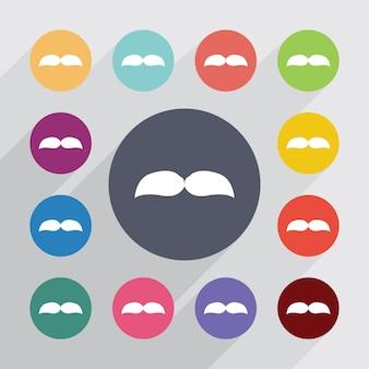 콧수염, 평면 아이콘을 설정합니다. 라운드 다채로운 단추입니다. 벡터