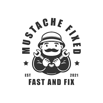 Mustache man holding wrench fixed logo vector illustration