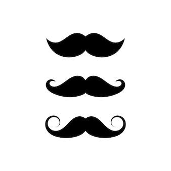 Набор усов трех фасонов. символ знака усы на белом фоне. векторная иллюстрация eps 10