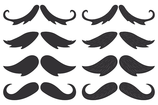 Mustaches black silhouettes  set isolated on a white background.