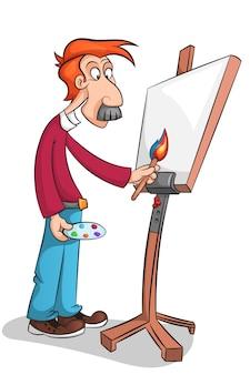 The mustachioed artist paints a portrait