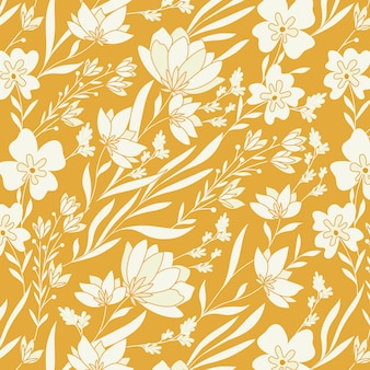 Mustard flower and leaves pattern