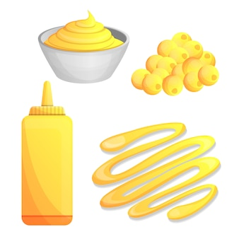Mustard icon set, cartoon style